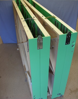 Baseboards stored for transport